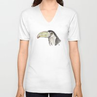 toucan V-neck T-shirts featuring Toucan by Ursula Rodgers