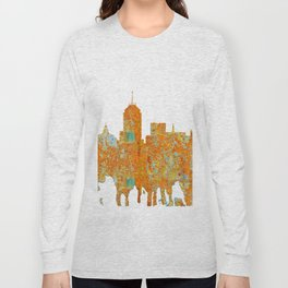 Fresno, California Skyline - Rust Long Sleeve T-shirt