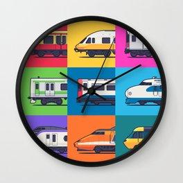 World Trains Grid Pattern Wall Clock
