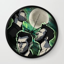 Three Derek Moon Wall Clock