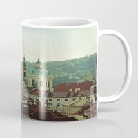 prague Mugs featuring Prague Rooftops by ALLY COXON