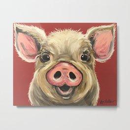 Pig Art, Farm Animal, Cute Pig Art Metal Print