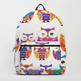 pattern - bright colorful owls on white background Backpack