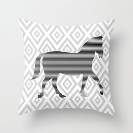 Horse - Abstract geometric pattern - gray, black and white. Throw Pillow