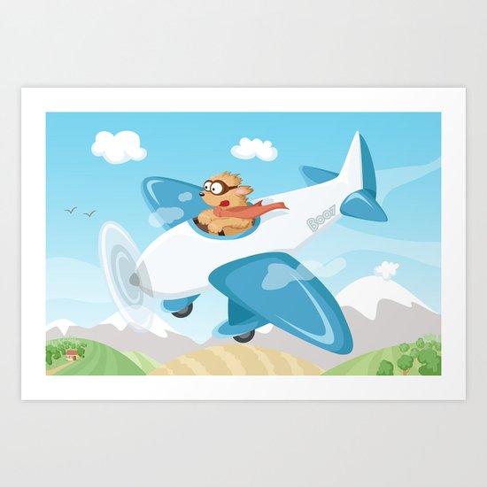 Secret agent Boo flying a plane Art Print