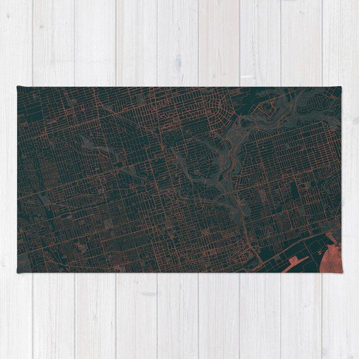 Toronto Map Red Rug