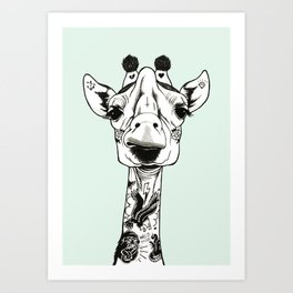 Giraffe Tattooed Art Print