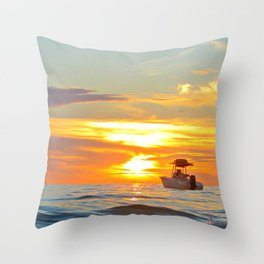 The Beach, The Boat, & The Sunset Throw Pillow