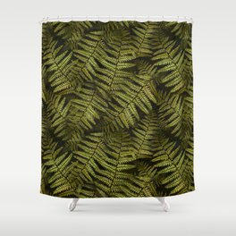 Among the ferns in the forest (military green) Shower Curtain