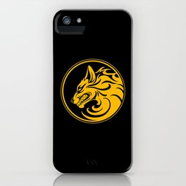 Yellow and Black Growling Wolf Disc iPhone Case