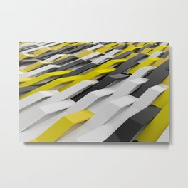 White, black and yellow  plastic waves Metal Print