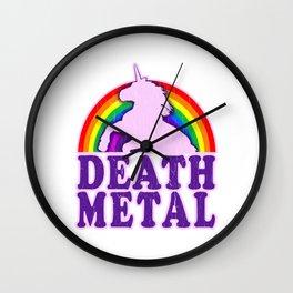 Funny Death Metal Unicorn Rainbow T-Shirt Wall Clock