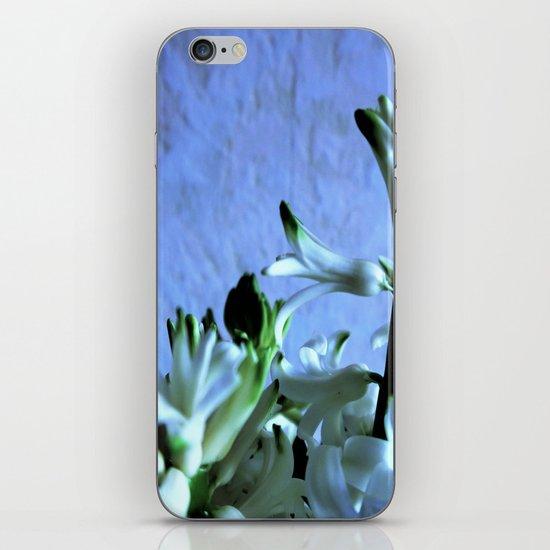 white hyacinthe on light blue background iPhone Skin