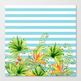 Tropical Chic Teal Blue Stripes Canvas Print