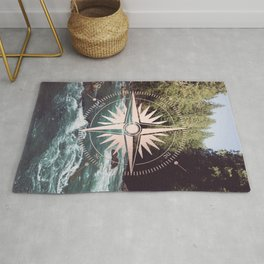 Rose Gold River Compass Rug