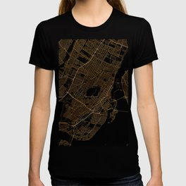 Black and gold Montreal map T-shirt