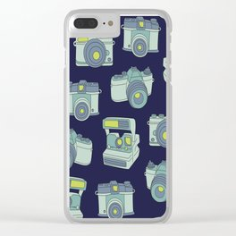 Vintage Cameras Pattern Clear iPhone Case