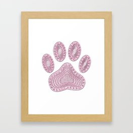 Abstract Pink Ink Dog Paw Print Framed Art Print