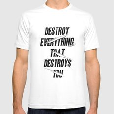 DESTROY Mens Fitted Tee MEDIUM White