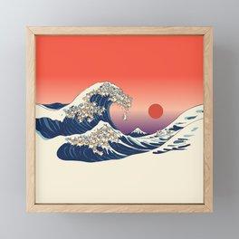 The Great Wave of Corgis Framed Mini Art Print