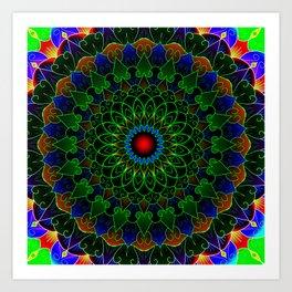 Neon cycle mandala Art Print