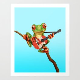 Tree Frog Playing Acoustic Guitar with Flag of Canada Art Print