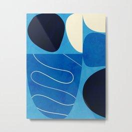 mid century abstract ocean blue III Metal Print