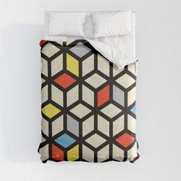Isometric Cube De Stijl Polygon Art Composition Comforters