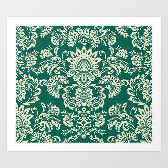 Damask vintage in green Art Print