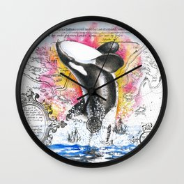 Breaching Orca Watercolor Rainbow Ancient Map Wall Clock