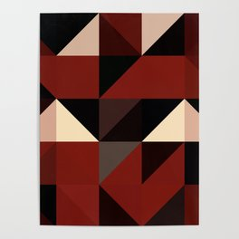 Red Black Block Pattern Abstract Poster