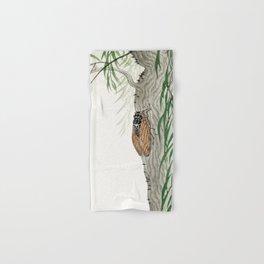 Cicada on a weeping willow tree - Japanese vintage woodblock print Hand & Bath Towel
