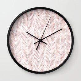 Living Coral Herringbone Wall Clock