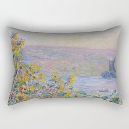Flower Beds at Vetheuil by Claude Monet Rectangular Pillow
