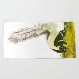 Large-tailed Skunk Hand Drawn Illustration by John James Audubon Beach Towel