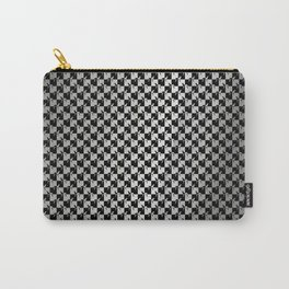 Black and Silver Gray Ghost Checkerboard Weimaraner Carry-All Pouch