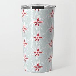 Holiday Floral Poinsettia Red Blue #Holiday #Christmas Travel Mug
