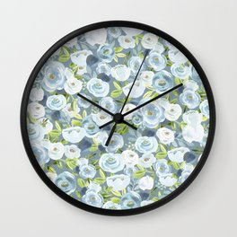 Soft Blue Watercolor Floral, Hand-painted Floral Pattern, Navy and Slate Blue, Light Blue, Roses Wall Clock