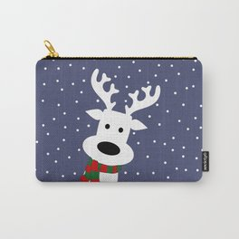 Reindeer in a snowy day (blue) Carry-All Pouch