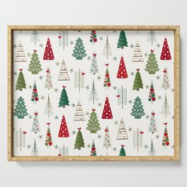 Scandinavian Christmas Trees Pattern - Red Green Serving Tray