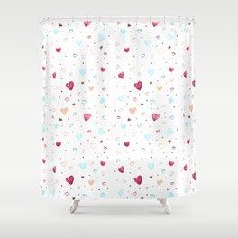 Hearts Chalk Pastel Doodle Art Shower Curtain
