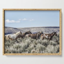 Horses Running On Steens Mountain Serving Tray