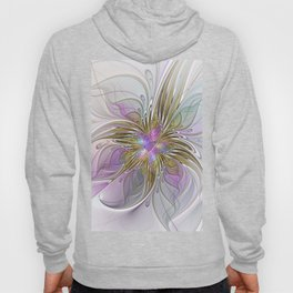 Flourish, Abstract Fractal Art Flower Hoody