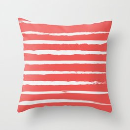 Irregular Hand Painted Stripes Coral Red Throw Pillow