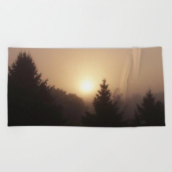 Sunrise Through Morning Fog Beach Towel