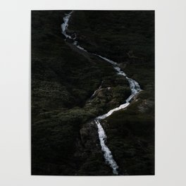 Dark forest with waterfall on the side of a mountain in Norway - Landscape Photography Poster