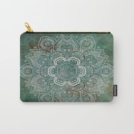Silver White Floral Mandala on Green Textured Background Carry-All Pouch