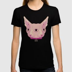 Two-Faced Sphynx From Outer Space Womens Fitted Tee Black SMALL