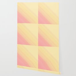 Pastel Ombre Millennial Pink Yellow Diagonal Stripes   Peach, apricot gradient pattern Wallpaper