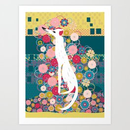Dog on pattern Art Print
